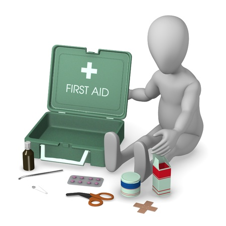 primeramente: 3d rinden de personaje de dibujos animados con el botiqu�n de primeros auxilios