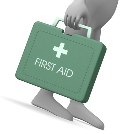 3d render of cartoon character with first aid kit photo