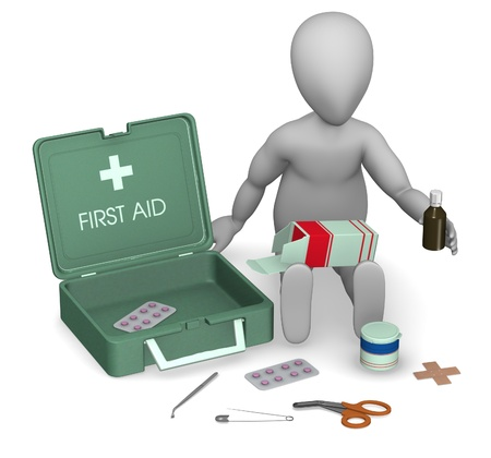 med: 3d render of cartoon character with first aid kit