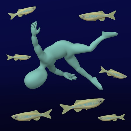 3d render of cartoon character sleep with fishes photo