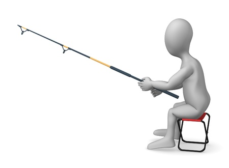 3d render of cartoon character fishing Stock Photo - 12919381