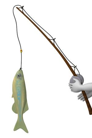 3d render of cartoon character fishing Stock Photo - 12919807