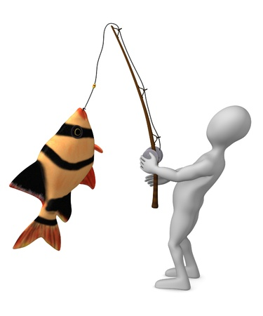 deep sea fishing: 3d render of cartoon character fishing  Stock Photo