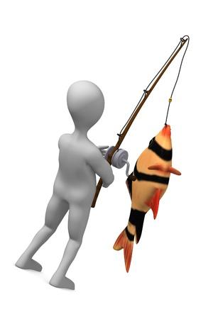 3d render of cartoon character fishing  photo
