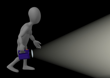 3d render of cartoon character with flashlight photo