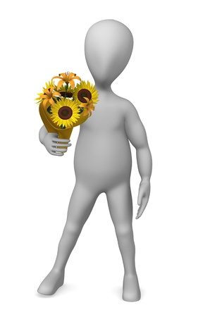 3d render of cartoon character with flower photo