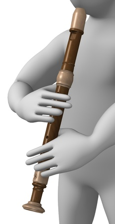 3d render of cartoon character with flute photo