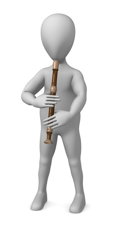 3d render of cartoon character with flute Stock Photo - 12919421
