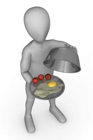 3d render of cartoon character with food Stock Photo - 12919799
