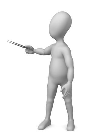 forceps: 3d render of cartoon character with forceps Stock Photo