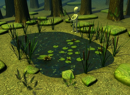 cattail: 3d render of cartoon character with forest pond