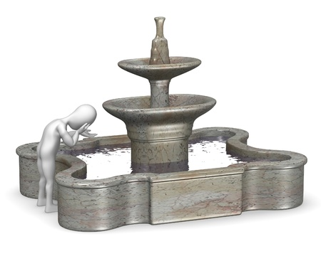 garden fountain: 3d render of cartoon character with fountain Stock Photo