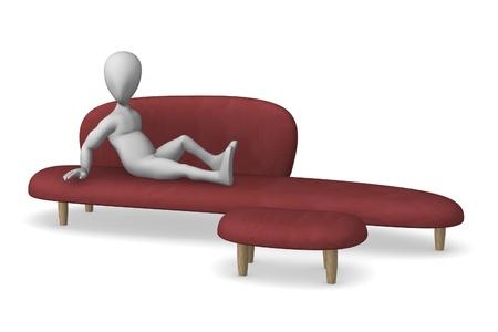 visualisation: 3d render of cartoon character on sofa