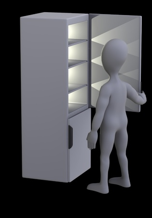 icebox: 3d render of cartoon character with fridge