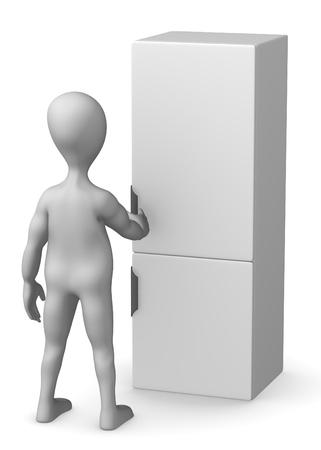 icebox: 3d render of cartoon character with fridge