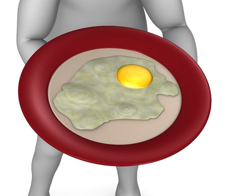 3d render of cartoon character with fried egg  photo