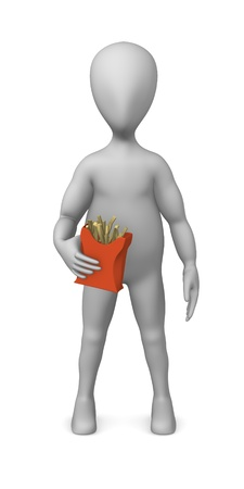 3d render of cartoon character with pomes frites photo