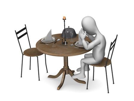 3d render of cartoon character in restaurant  photo