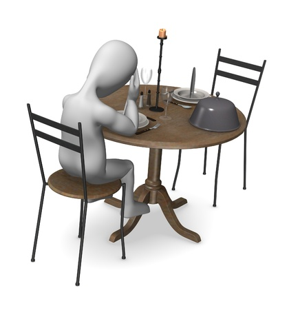 3d render of cartoon character in restaurant  photo