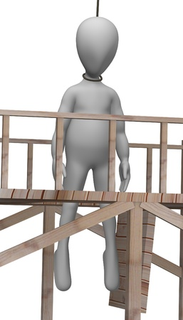 torment: 3d render of cartoon character with gallows Stock Photo