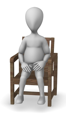 3d render of cartoon character with garden furniture photo