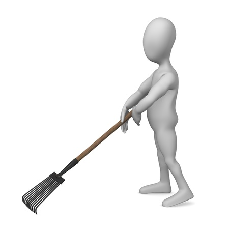 3d render of cartoon character with garden tool photo