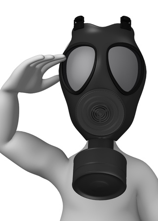 chemical weapons: 3d render of cartoon character with gas mask Stock Photo