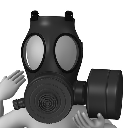 gasmask: 3d render of cartoon character with gas mask Stock Photo