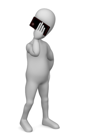 3d render of cartoon character with cell phone Stock Photo - 12920061