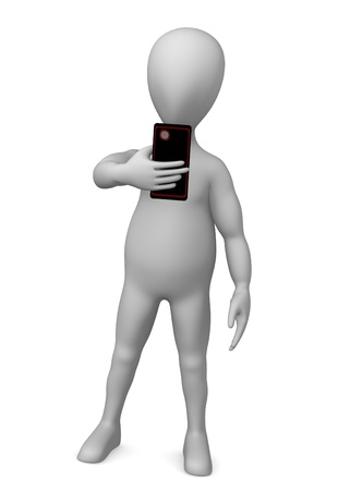 3d render of cartoon character with cell phone Stock Photo - 12919600