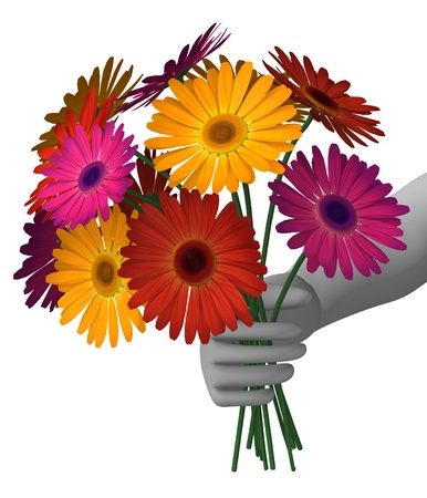 3d render of cartoon character with gerbera photo