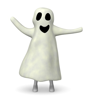 3d render of cartoon character with ghost Stock Photo - 12948173