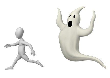 3d render of cartoon character with ghost Stock Photo - 12919854