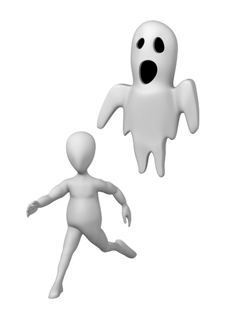 3d render of cartoon character with ghost photo