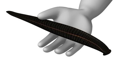 the bloodsucker: 3d render of cartoon character with leech
