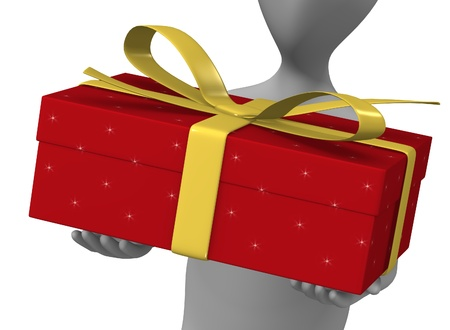 3d render of cartoon character with gift photo