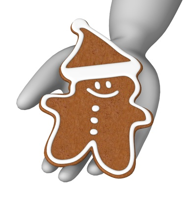 3d render of cartoon character with gingerbread photo
