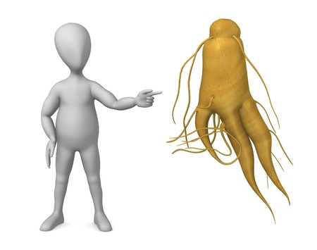 ginseng: 3d render of cartoon character with ginseng Stock Photo