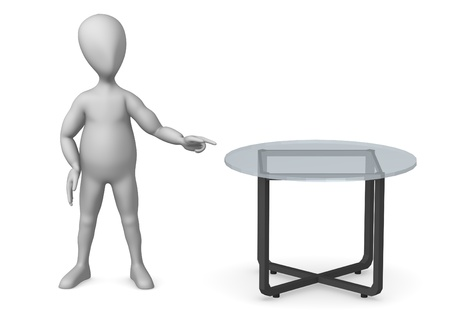vizualisation: 3d render of cartoon character with glass table