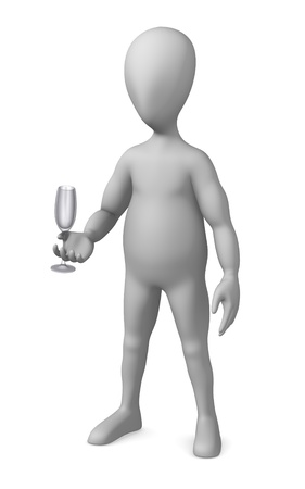 3d render of cartoon character with glass Stock Photo - 12945199