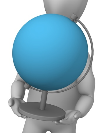 globus: 3d render of cartoon character with globe