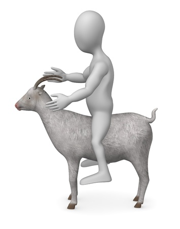 3d render of cartoon character with goat photo
