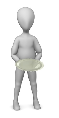 3d render of cartoon character with golden plate Stock Photo - 12919602