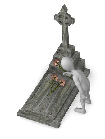 crypt: 3d render of cartoon character with grave Stock Photo