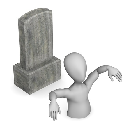 figourine: 3d render of cartoon character with grave Stock Photo