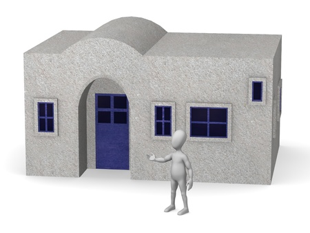 shack: 3d render of cartoon character with greek house