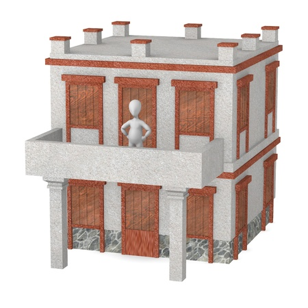 3d render of cartoon character with greek house