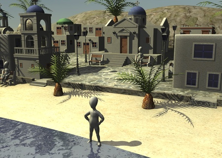 figourine: 3d render of cartoon character with greek village