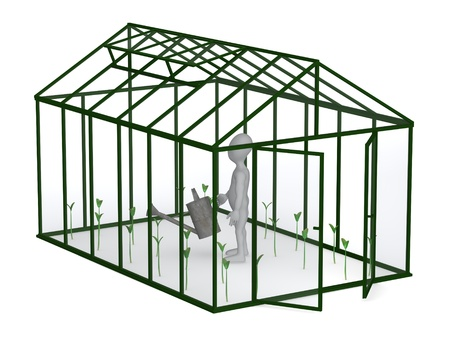 3d render of cartoon character with greenhouse Stock Photo