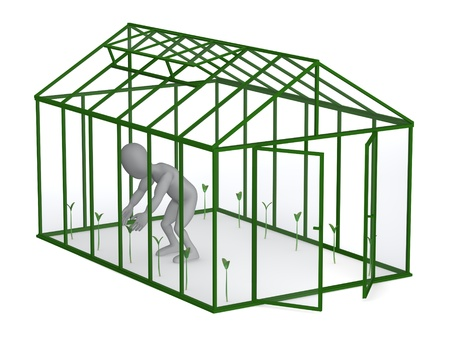 hotbed: 3d render of cartoon character with greenhouse Stock Photo